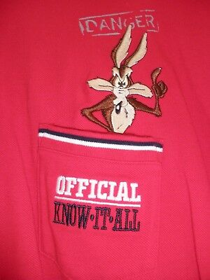 Warner Bros Store Vintage Adult Embroidered T-Shirt Large Wile E Coyote Danger