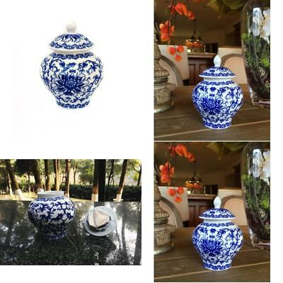 Ancient Chinese Style Blue And White Porcelain Tea Storage Helmet-Shaped Temple