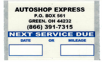 Custom  Static Cling Oil Change Stickers 500/roll Orl5004
