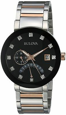 Bulova 98D129 Men's Diamond Two-Tone Rose & Stainless Steel Black Dial Watch
