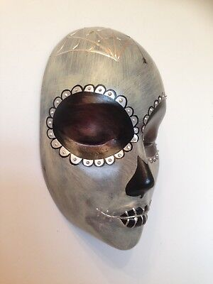 Hand cast Day of the Dead style wall hanging mask silver spider web