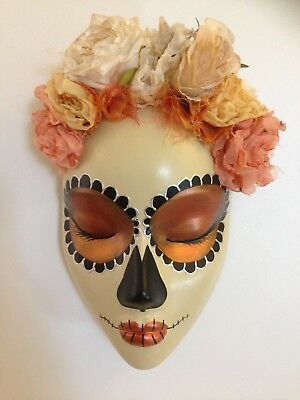 Hand cast wall hanging mask Day of the Dead Orange Peach coloured fabric flowers