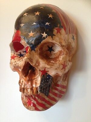 Hand cast style wall hanging skull American flag theme