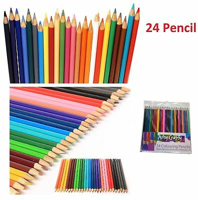 24 x LARGE COLOURED PENCIL PACK School Stationery Children/Kids Art/Craft Set