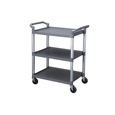 """3-Tier Utility Cart, Grey Bus Cart 350 lbs Load with Open Shelving 33""""L x 16..."""