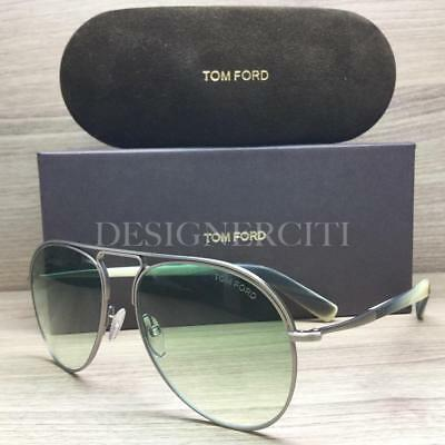 5af2ca7fe8a39 Tom Ford Cody TF448 448 Sunglasses Matte Ruthenium Green Horn 14P Authentic  57mm