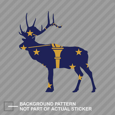 Wyoming Deer Shaped Flag Sticker Decal Vinyl WY stag hunting archery antlers