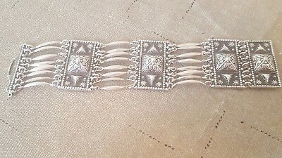 Wonderful Vintage Taxco Sterling Silver Pyramid Panel Link Bracelet