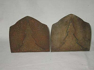 Gorgeous Arts & Crafts Movement Hand Hammered Copper Bookends - Tree Overlaid