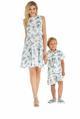 2ac4b3893fc HAWAII HANGOVER MOTHER Son Hawaiian Matching Outfit In Vintage Tropical  Toile