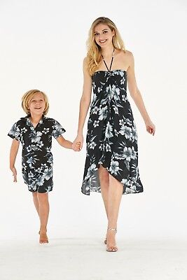 e26d3f889 Hawaii Hangover Mother Son Hawaiian Luau Matching Outfit In Midnight Bloom  Black