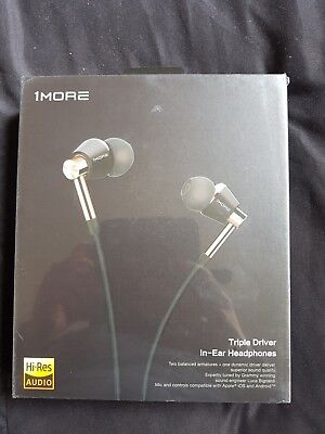 1MORE Triple Driver In-Ear Headphones Gold With Smart Microphone And Remote New