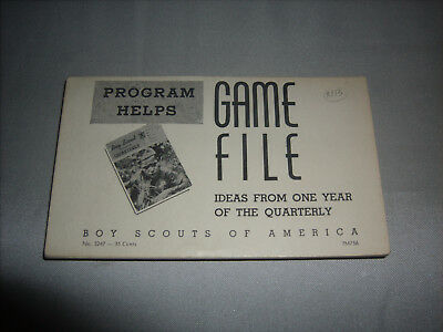 Vintage BSA Boy Scouts of America GAME FILE CARDS Ideas From The Quarterly 1956