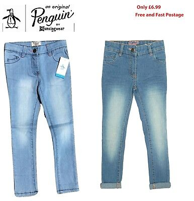 Original Penguin Girls Slim fit Skinny Stretch Blue Denim Cotton Jeans 2-7 years