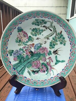 Large Antique 19th Century Chinese Famille Rose Porcelain  Plate