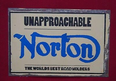 Retro Tin Sign - Unapproachable Norton, The World's Best Road Holders -30x20cm