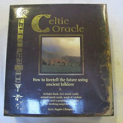 Celtic Oracle Divination kit opened never used. book, cards, stickers, calendar