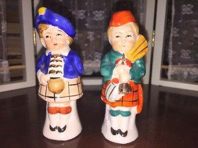 Scotland Ireland Salt Pepper Girl & Boy Rare Japan Horn Antique Vtg Old