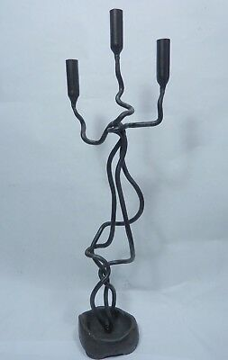 "Vintage Hand Wrought Iron Candelabra Tall Tangled Twisted Modern for ½"" candles"