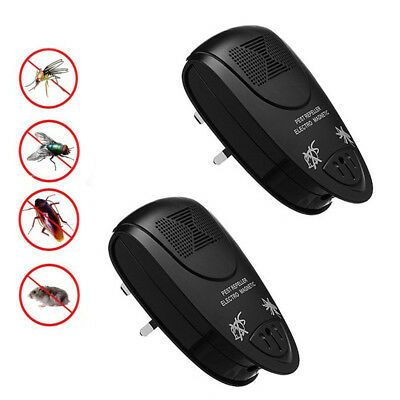 2x Whole House Ultra Sonic Plug Mosquitoes Rodent Rat Mouse Spider Moth Repeller
