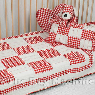 DESIGNER BLANCHE RED PATCHWORK SOFT QUILT & CUSHION COT SET 100x130cm **NEW**