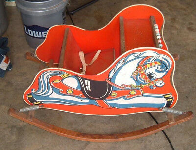 Antique Vintage Childs Rocking Horse Seat Chair with Counting Beads