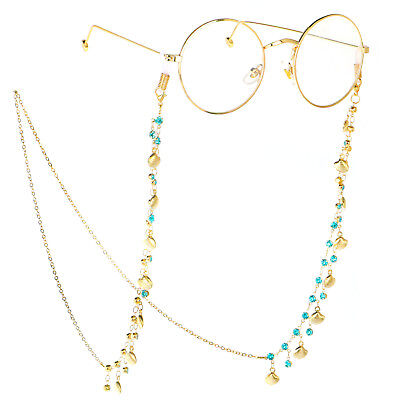 Crystal Gold Eyeglass Cord Reading Glasses Eyewear Spectacles Chain Holder GL156