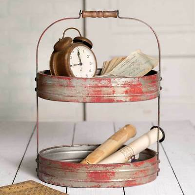 Serving Metal Tray Two Tier Vintage Style Rustic Farmhouse Kitchen Home Decor