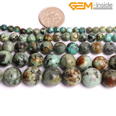 """Natural Gemstone African Turquoise Round Stone Beads For Jewellery Making 15""""CA"""