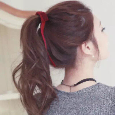 Ms Hair Band Rope Elastic Holder Headband Ponytail Ribbon Bow Tie 4 Color Random