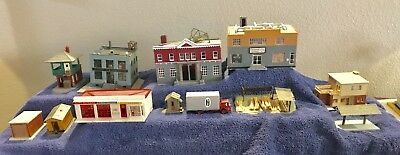 (12) Twelve HO Scale Train Buildings, Truck, Stores, & More! Used For Parts