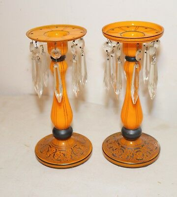 pair antique Czechoslovakian sterling silver crystal orange glass candlesticks