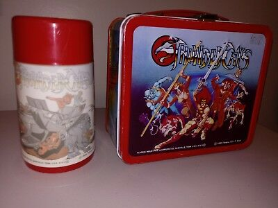 1985 THUNDERCATS metal ALLADIN lunchbox with original thermos NICE!!!!!!!!!!!!!!