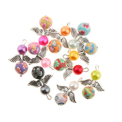 10 Mixed Dancing Angel Wings Charms Teardrop Beads Pendants DIY Jewelry 22x31mm