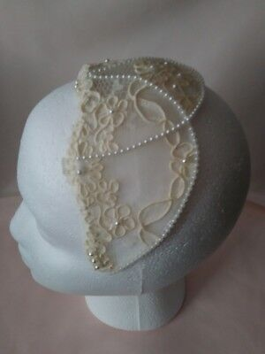 Bridal Floral Lace Pearlized Beaded Headpiece Cap