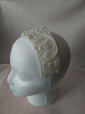 Bridal Floral Lace Beaded Headpiece Headband