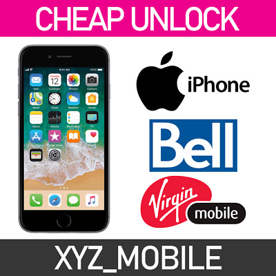 Unlock BELL Virgin Canada Apple iPhone 7, 7+, 6s, 6s+, 6, 6+, SE, 5S, 5, 4S, 4