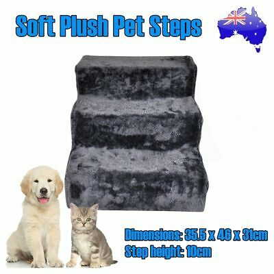 3 Steps Pet Soft Plush Steps Ladder Washable Cover Cat Dog Stairs Ramp Portable