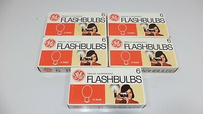 5 Boxes Of 12 Vintage GE #6 Clear Flashbulbs Flash Bulbs Old Stock Camera