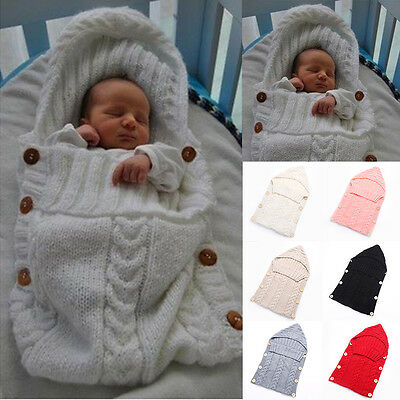 Knit Thermal Newborn Baby Sleeping Bag Blanket Sleep Sack Stroller Wrap Swaddle
