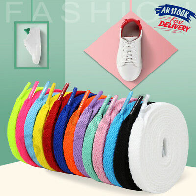 2/5Pairs Colorful Shoelace Coloured Flat Bootlace Sneaker Shoe Laces 120cm AU