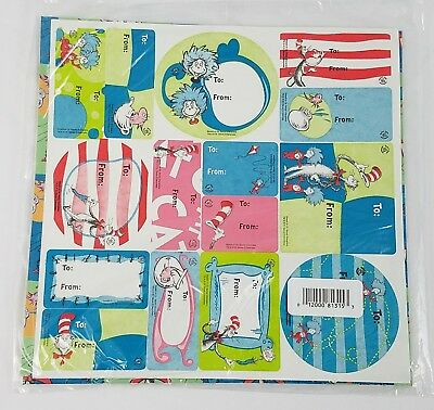 Dr Suess Universal Studios 2003 Wrapping Paper Stickers New Cat In The Hat