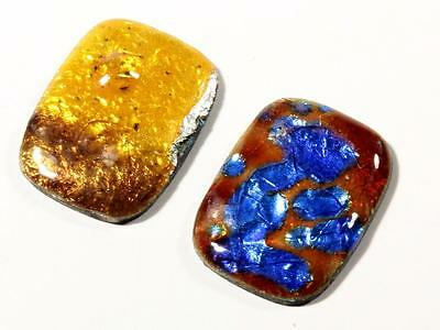 (2) 2 mm rare antique Czech lampwork glass foil metal mosaic cabochons
