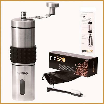 proERO Manual Coffee Grinder – Stainless Steel Hand Mill with Conical...