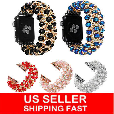 Bling Pearl Beads Strap Bracelet Band For Apple Watch Series 5 4 3 2 1 38mm-44mm