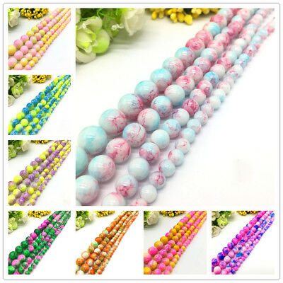 Wholesale 6 8 10 12mm Pattern Glass Round Beads Jewelry Making Accessories DIY #