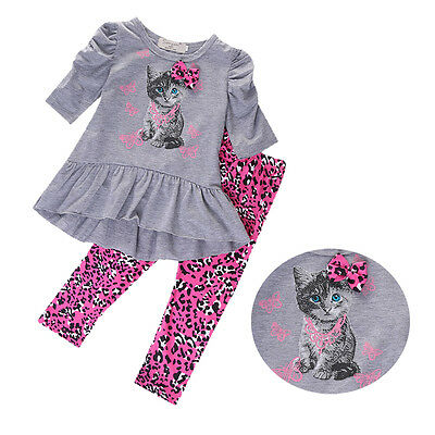 2PCS Toddler Kids Baby Girls Tops Dress Long Pants Leggings Outfits Clothes US