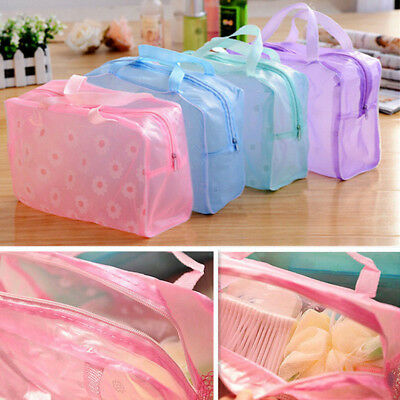 Newly Clear Transparent PVC Waterproof Travel Makeup Cosmetic Toiletry Zip Bag
