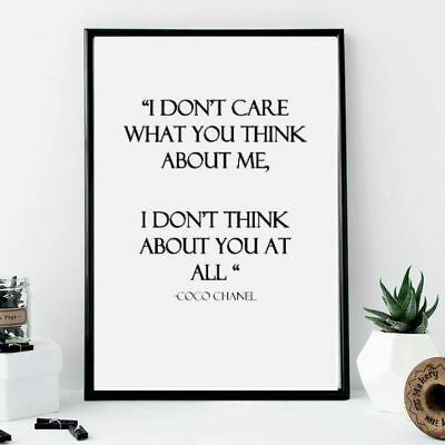 Wall print art inspirational quote coco chanel independence self love poster