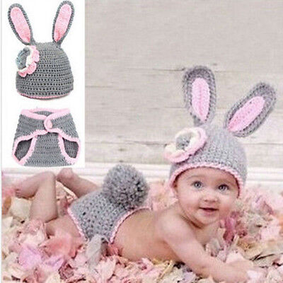 New Baby Girl Cute Rabbit Crochet Knit Costume Outfit Set Mickey Hat Photo Props
